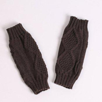 Rhombus Line Embelished Knit Fingerless Gloves - DEEP GRAY