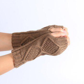 Rhombus Line Embelished Knit Fingerless Gloves - KHAKI