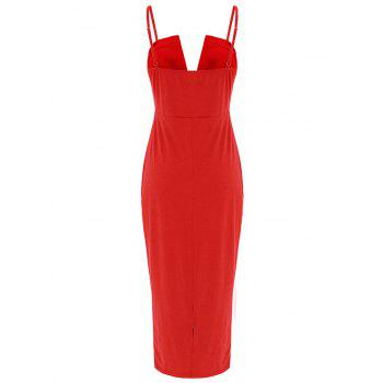 Spaghetti Strap Lace Applique Bodycon Dress - RED M