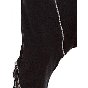 PU Spliced Zipper Embellished Harem Pants - BLACK L