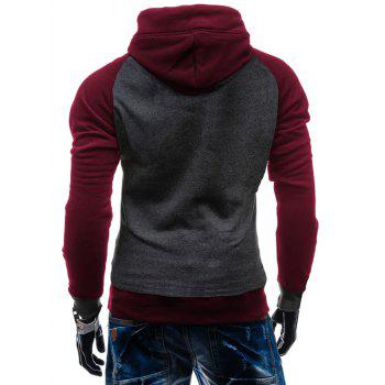 Color Block Pullover Kangaroo Pocket Hoodie - DEEP GRAY L