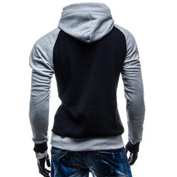 Color Block Pullover Kangaroo Pocket Hoodie - BLACK L