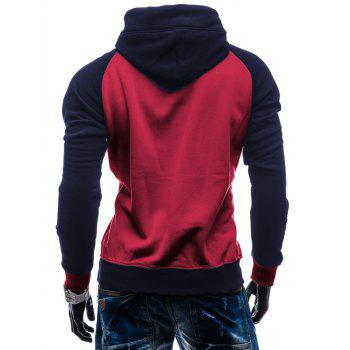 Color Block Pullover Kangaroo Pocket Hoodie - RED XL