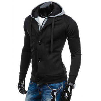 Spliced Zip-Up Color Block Hoodie - BLACK 2XL