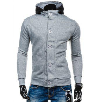 Spliced Zip-Up Color Block Hoodie - LIGHT GRAY M