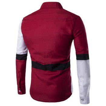 Button Up Long Sleeve Color Block Shirt - RED M