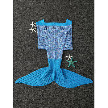 Good Quality Comfortable Kintted Kids Mermaid Tail Blanket - BLUE
