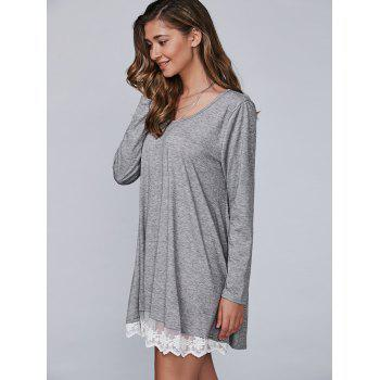 Autumn Lace Lower Hem Casual Dress With Sleeves - GRAY M