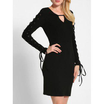 Lace Up Long Sleeve Bodycon Dress - BLACK S