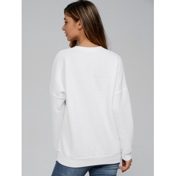Sweat-shirt Côtelé à Lacets - Blanc XL