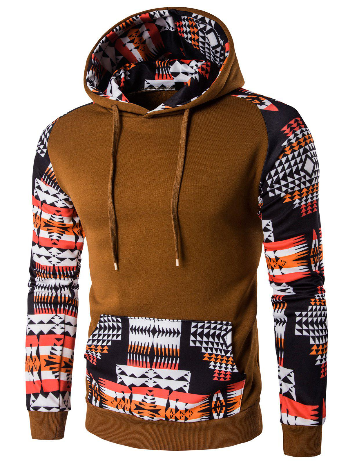 Geometric Print Patchwork Design Hoodie - COFFEE M