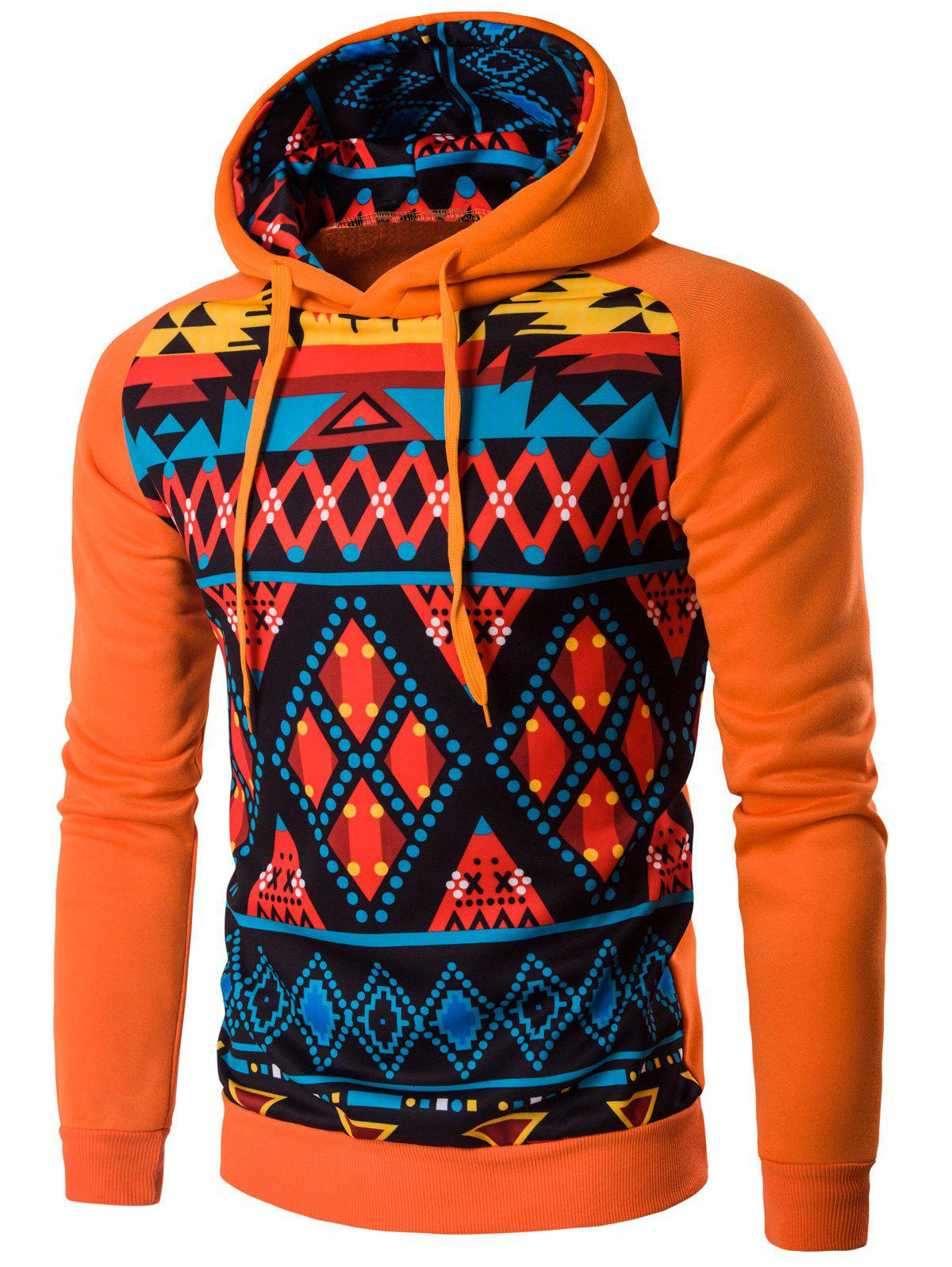 Cartoon Geometric Long Sleeve Hoodie - SWEET ORANGE XL