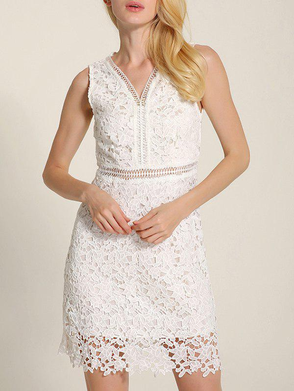Cut Out V Neck Lace A-Line Summer Wedding Dress - WHITE S