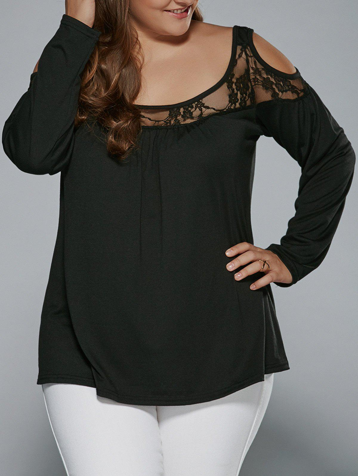 Long Sleeve Lace Patchwork Cold Shoulder T-Shirt - BLACK XL