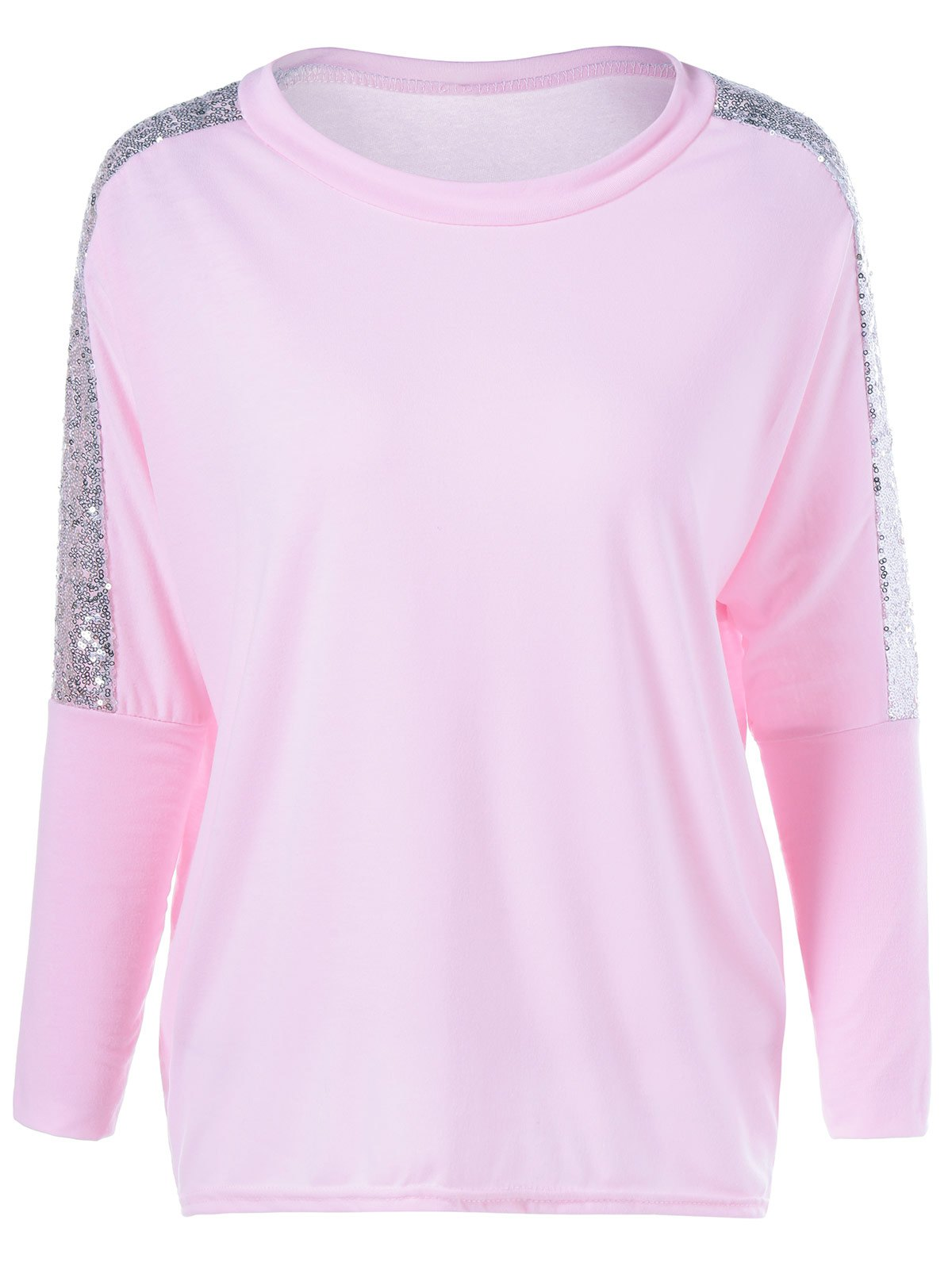 Sequin Jewel Neck Long Sleeve T-Shirt - PINK L