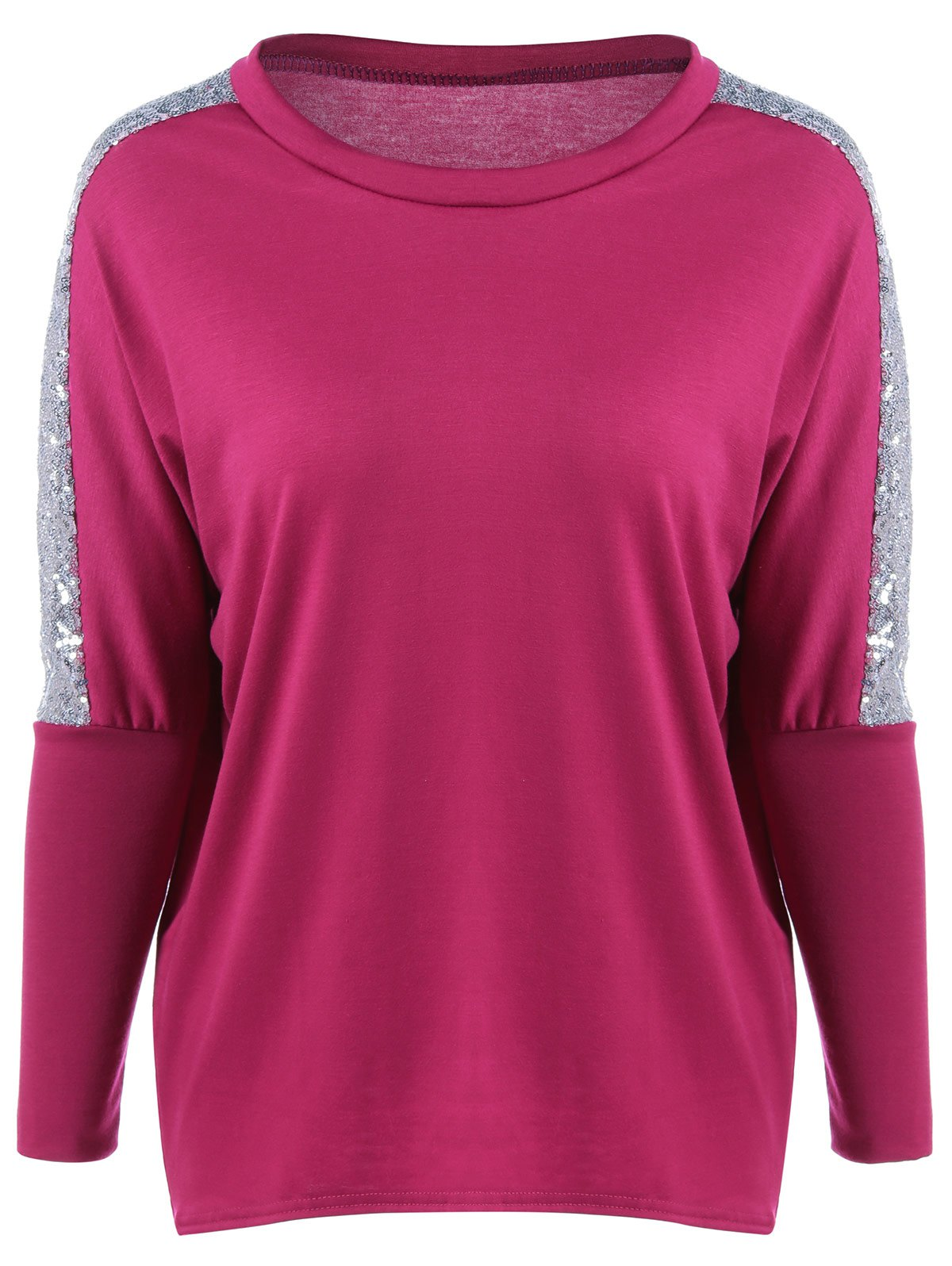 Sequin Jewel Neck Long Sleeve T-Shirt - ROSE RED XL