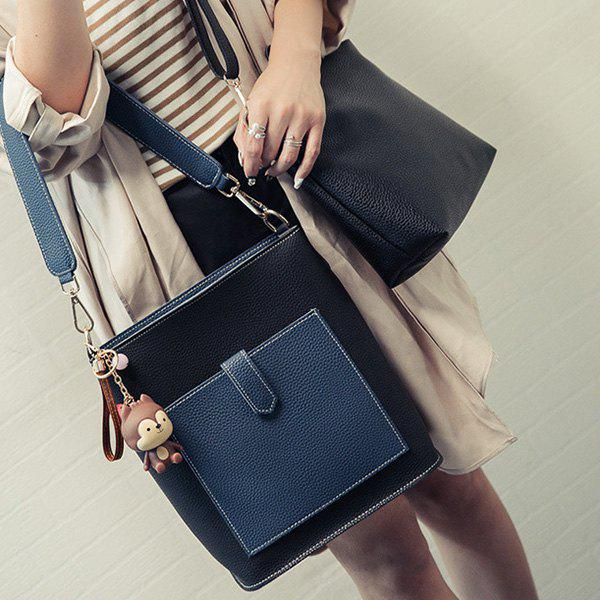 Magnetic Closure Color Spliced Textured Leather Shoulder Bag - BLACK