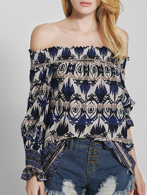 Off The Shoulder Vintage Printed Blouse - BLUE XL