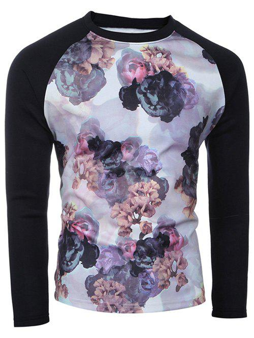 Spliced Sleeve Crew Neck Floral Print T-Shirt - COLORMIX M