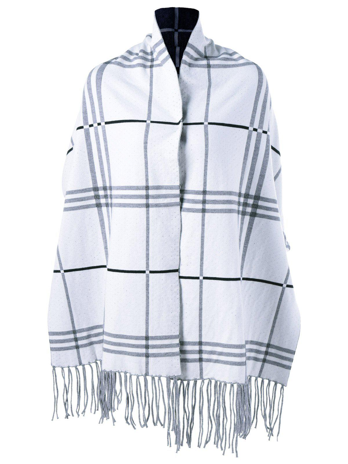Plaid Fringed Asymmetrical Cape - LIGHT GRAY ONE SIZE