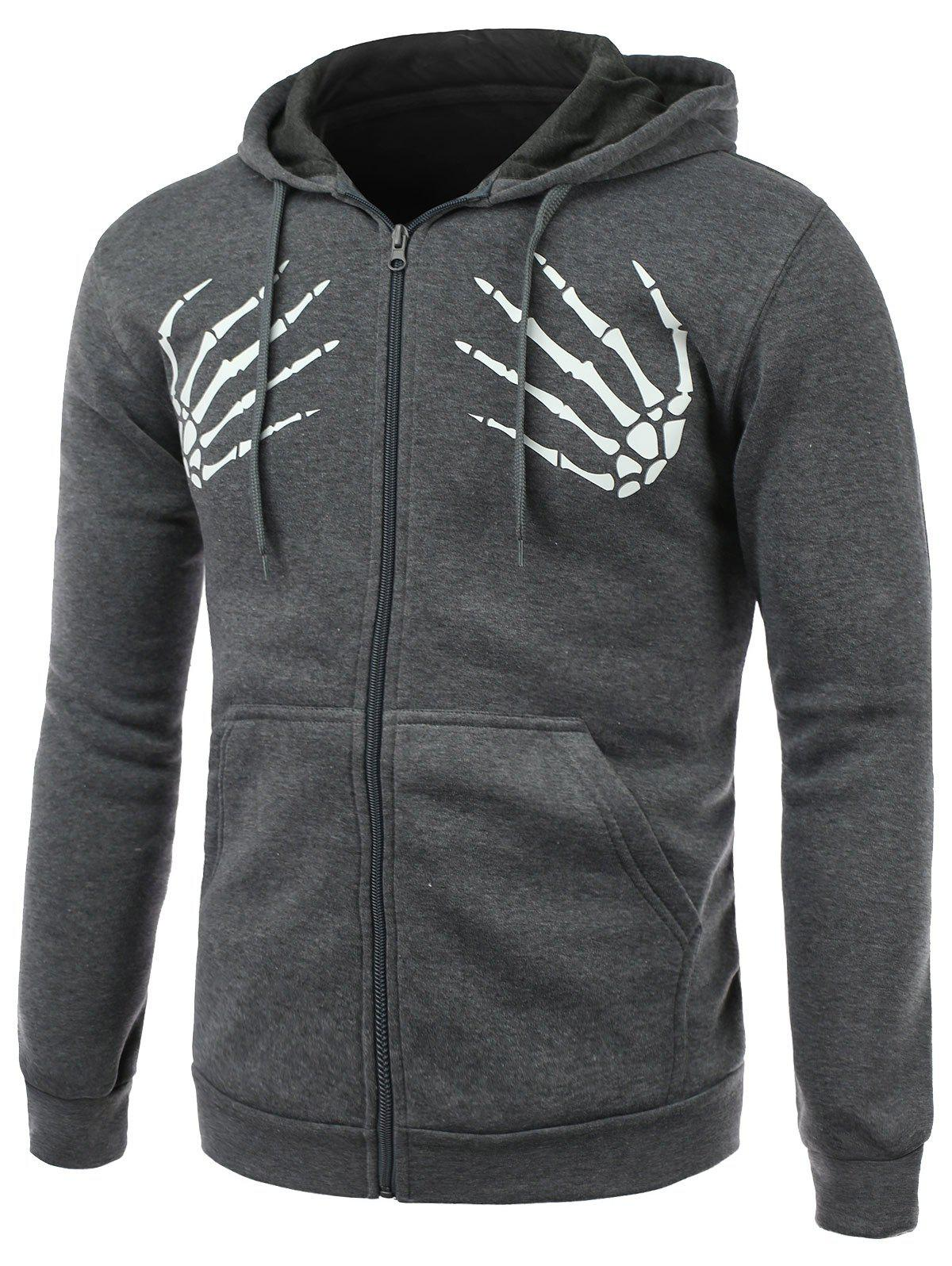 Skull Hands Print Long Sleeve Fleece Zip-Up Hoodie - DEEP GRAY 2XL