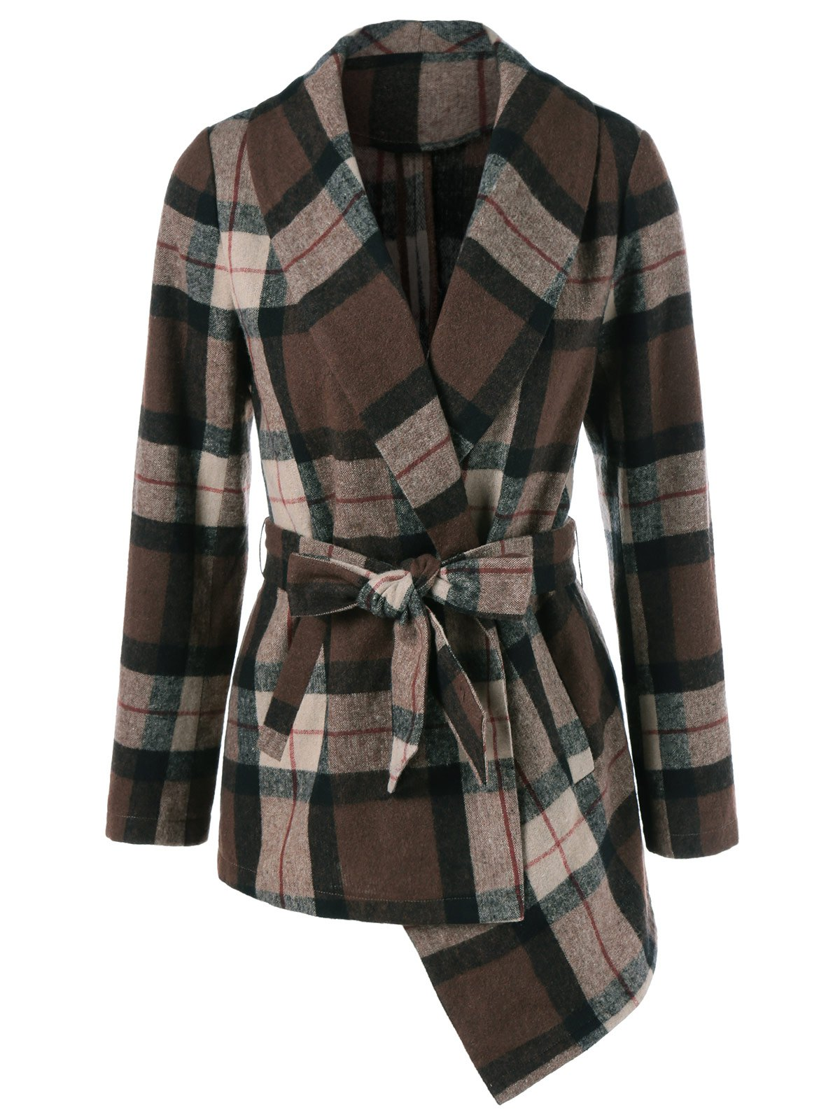 Tie Belt Asymmetrical Plaid Coat - CHECKED L