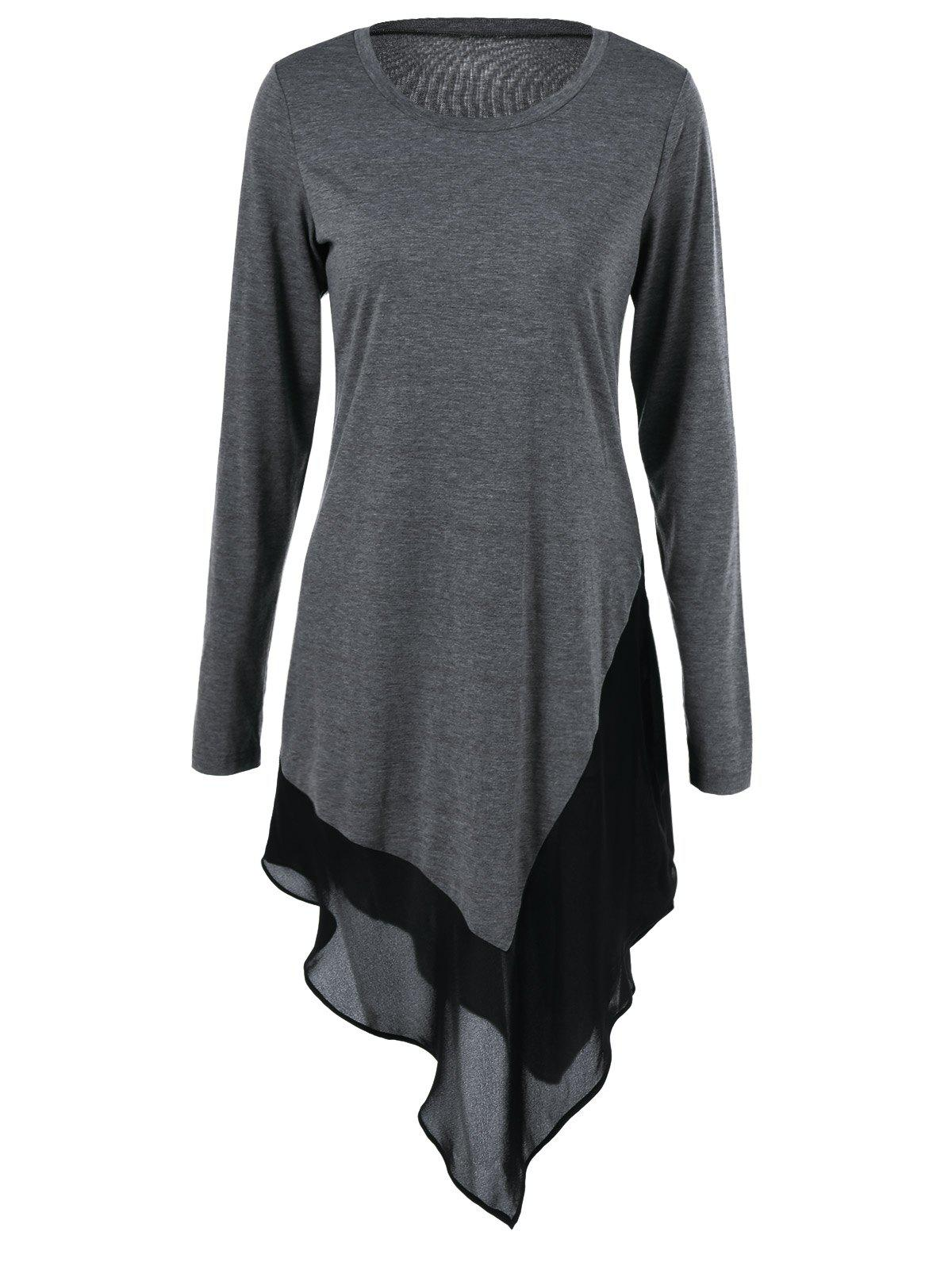 Chiffon Trim Asymmetrical Long Blouse - GRAY L