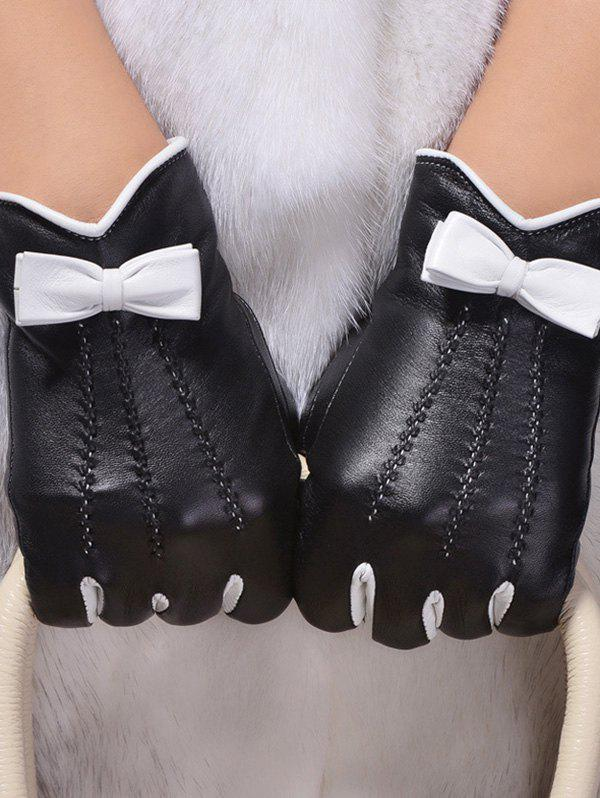 Double-Deck Bowknot Wave Cut Thicken Gloves - BLACK M