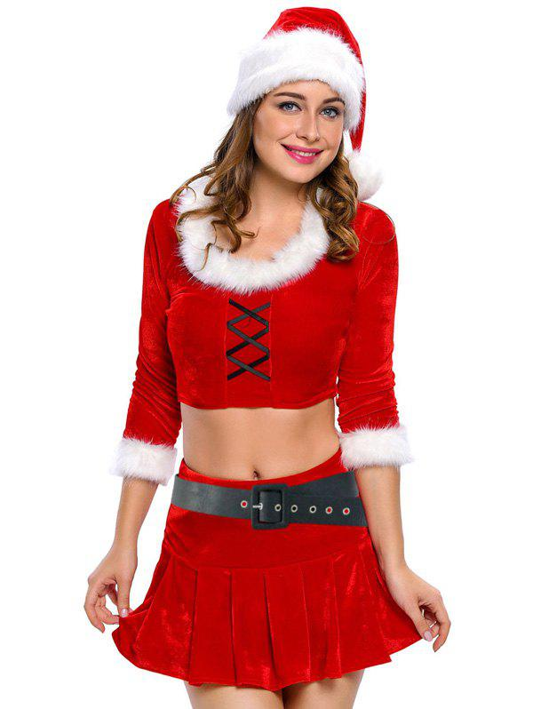 Christmas Faux Fur Crop Top and Short Skirt and Hat Sets, RED, L ...