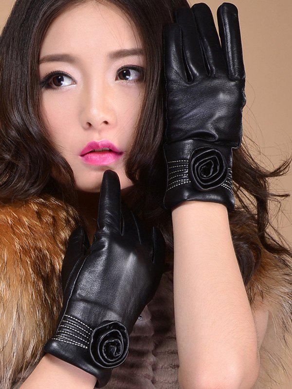 Faux Leather Flower Shape and Sewing Thread Embellished Thicken Short Gloves - BLACK L