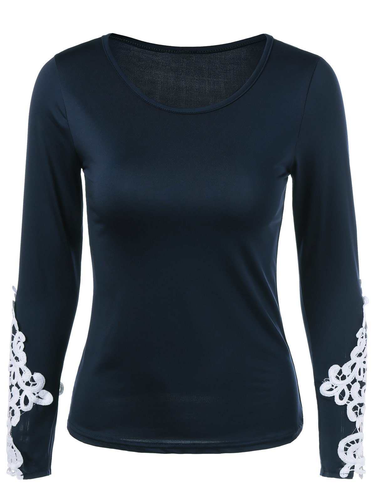 Lace Applique Slimming T-Shirt - PURPLISH BLUE S