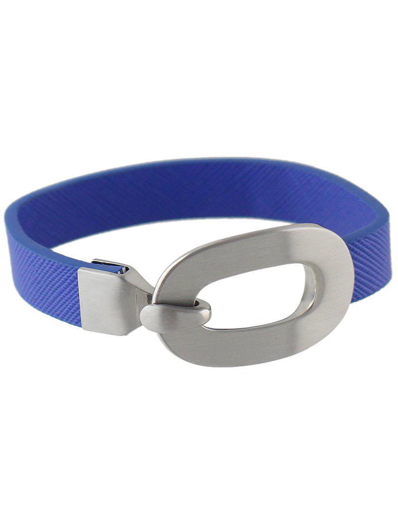Faux Leather Hook Bracelet - BLUE