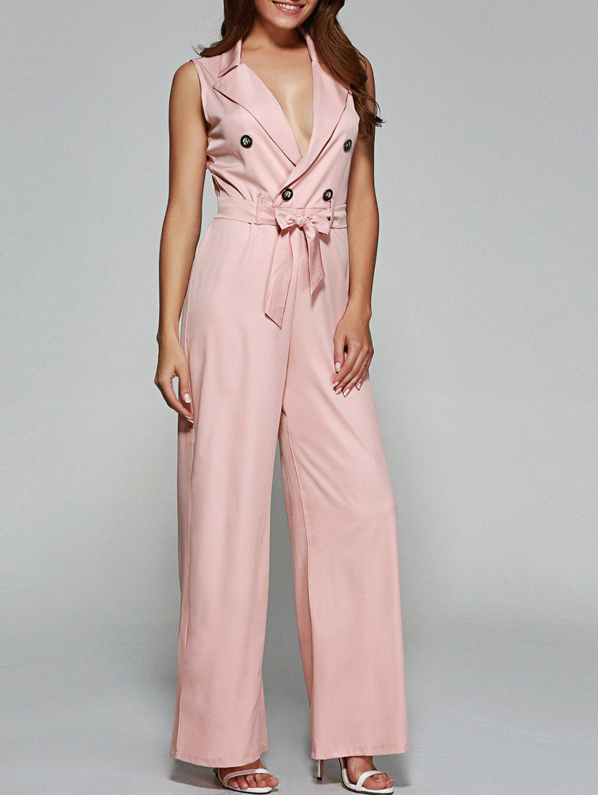 Buttoned Tied Belt Wide-Leg Jumpsuit - LIGHT PINK L