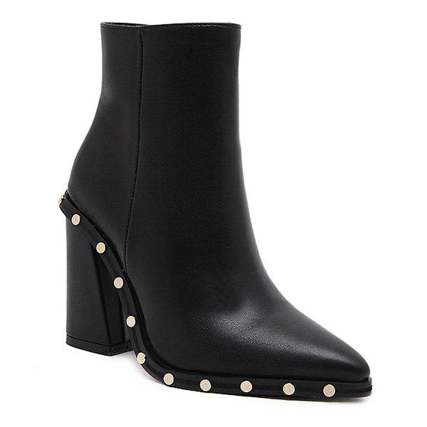 Pointed Toe Chunky Heel Studded Ankle Boots - BLACK 38