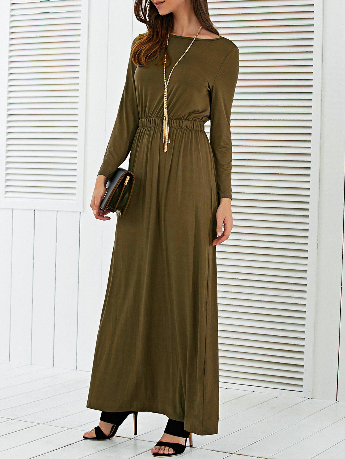 Long Sleeve Waisted Maxi Dress long sleeve waisted maxi dress