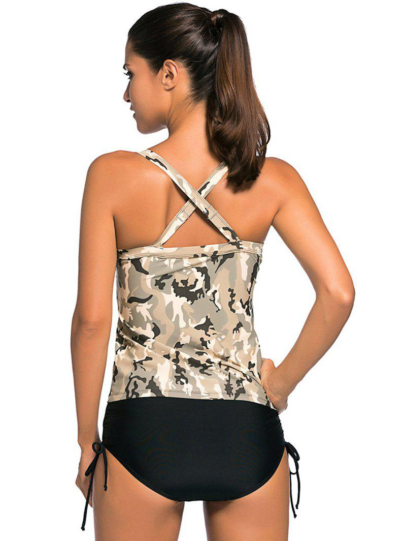 Criss Back Padded Camouflage Tankini Swimsuits - COLORMIX S