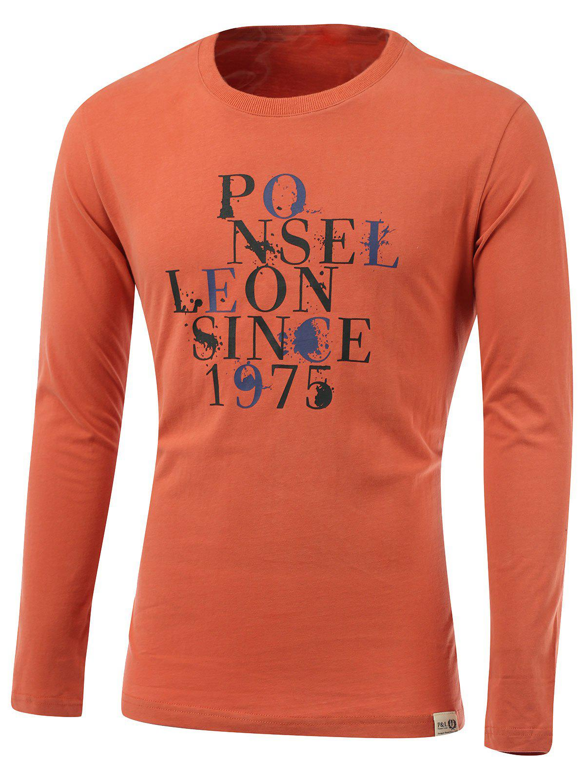 Splash-Ink Letter Print Round Neck Long Sleeve T-Shirt - ORANGE M
