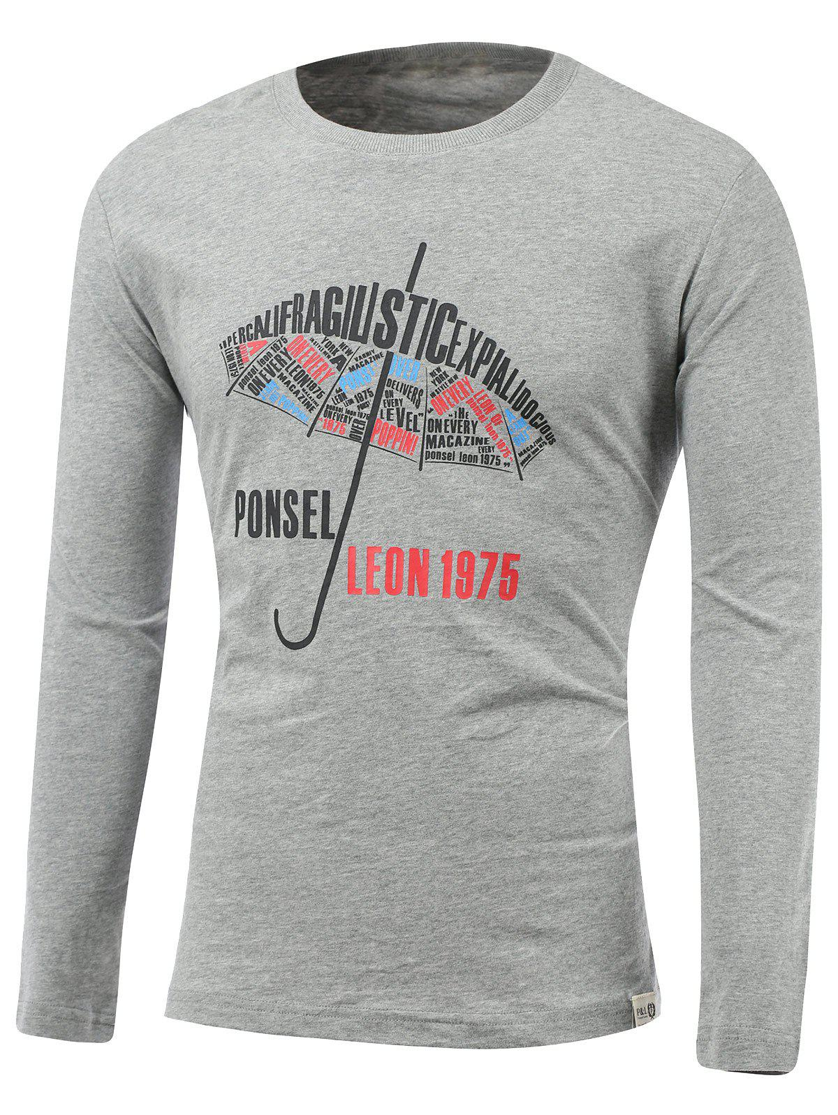 Umbrella and Letters Print Round Neck Long Sleeve T-Shirt