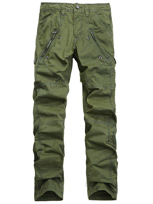 Straight Leg Zipper Pocket Stitching Cargo Pants - ARMY GREEN 32