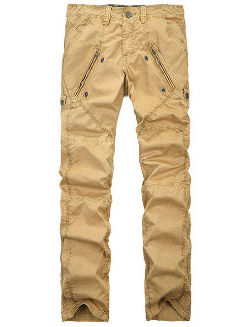 Straight Leg Zipper Pocket Stitching Cargo Pants - GINGER 33