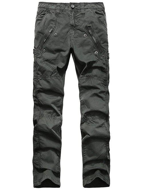 Straight Leg Zipper Pocket Stitching Cargo Pants - DEEP GRAY 36