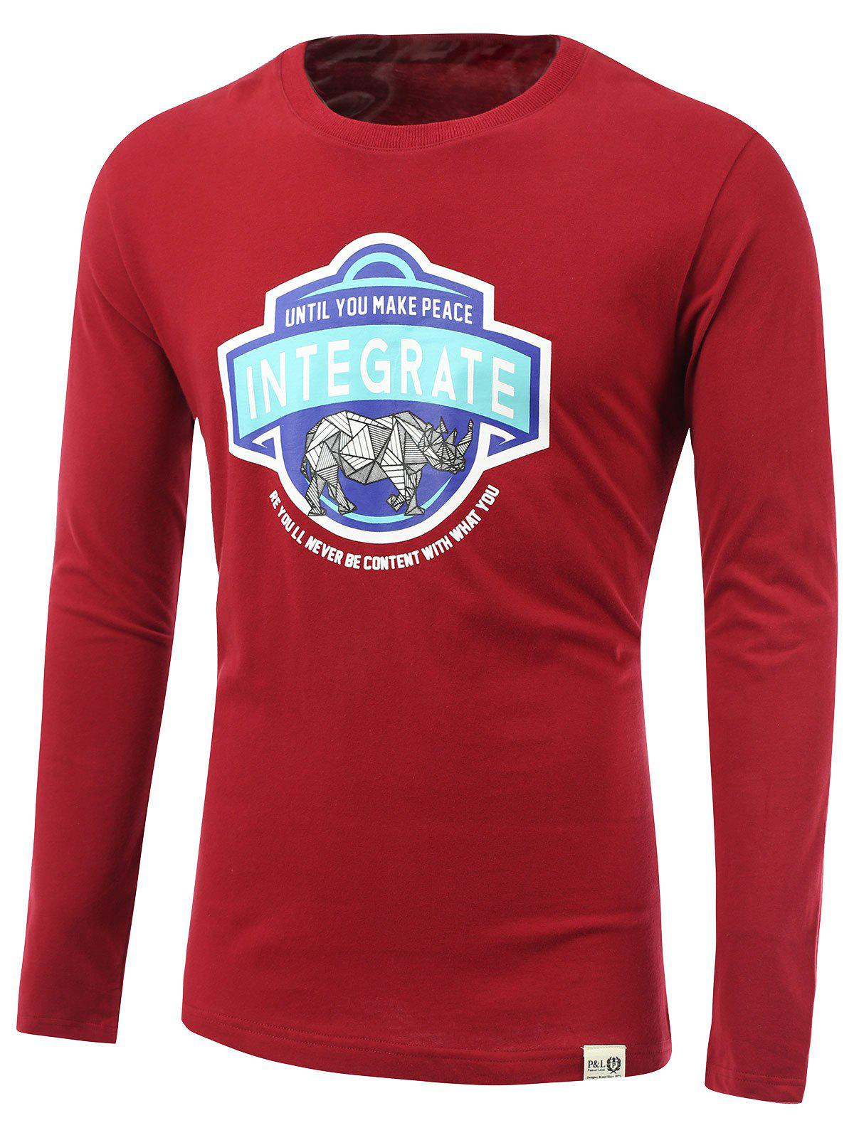 Rhinoceros and Letters Print Round Neck Long Sleeve T-Shirt