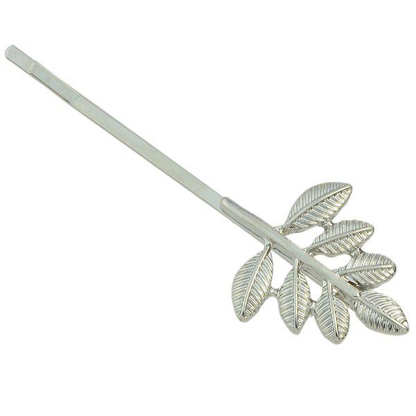 Alloy Emboss Leaf Bud Hairpin - SILVER WHITE