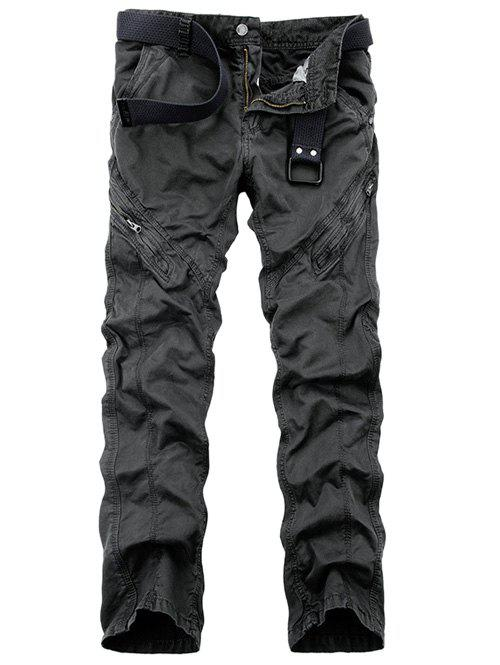 Straight Leg Zippered Mid-Rise Cargo Pants - DEEP GRAY 29