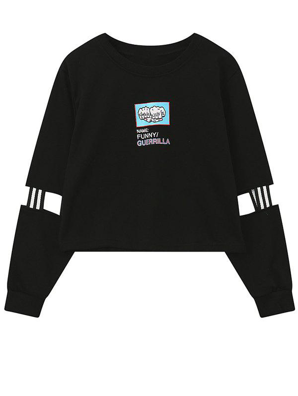 Crew Neck Print Patched Graphic Sweatshirt - BLACK ONE SIZE