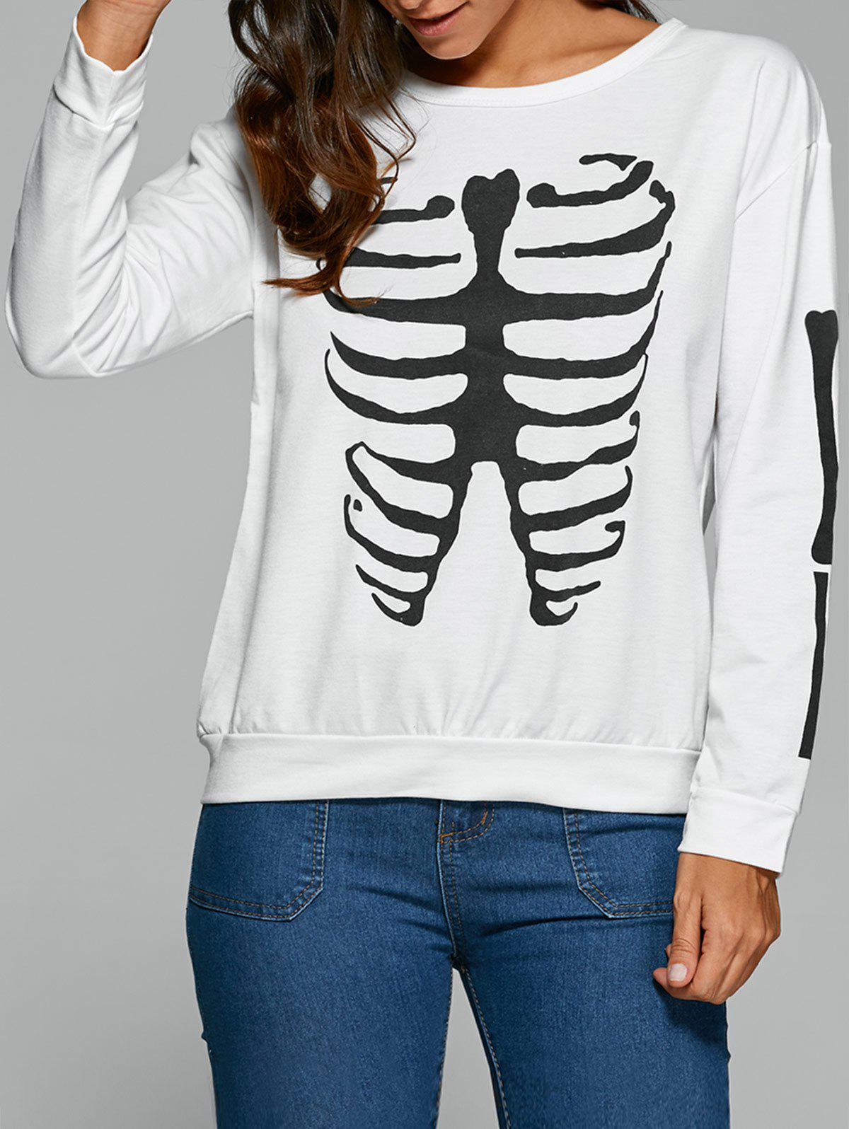 Long Sleeve Halloween Skeleton T-Shirt - WHITE M
