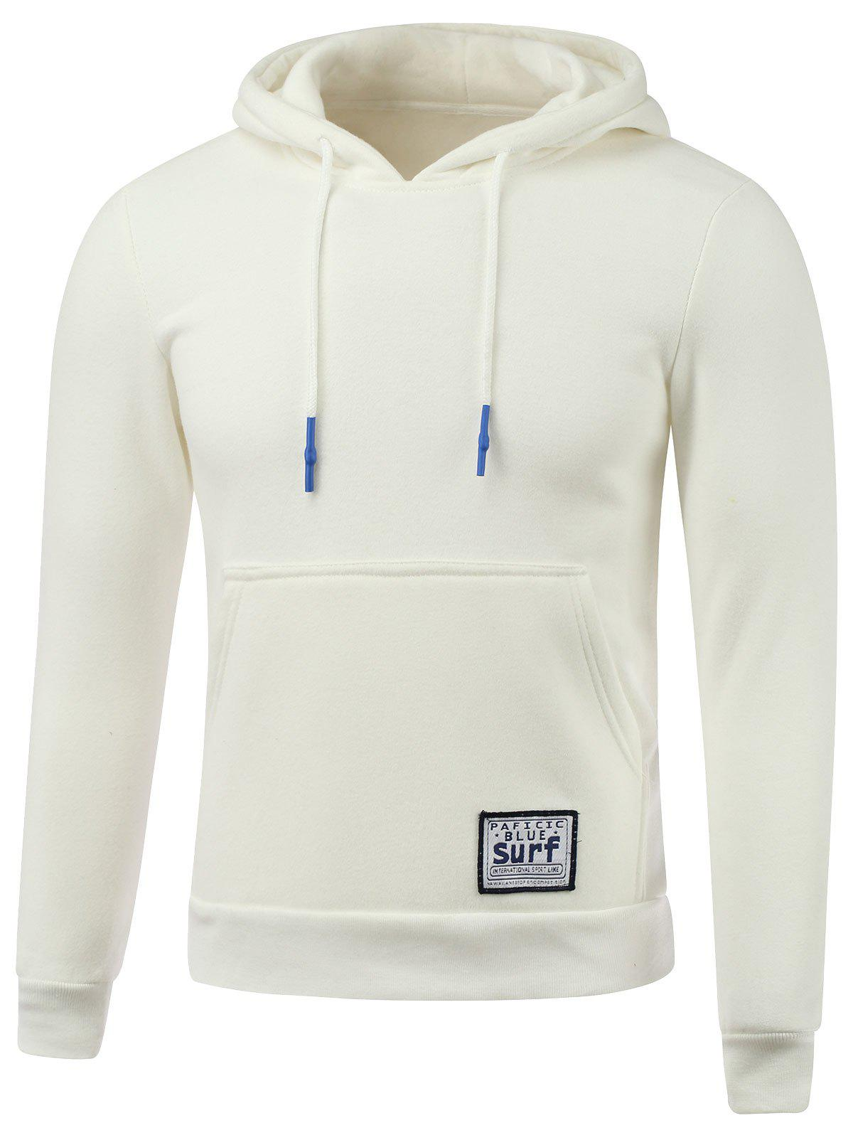 Drawstring Applique Hooded Sweatshirt à capuche - Blanc M
