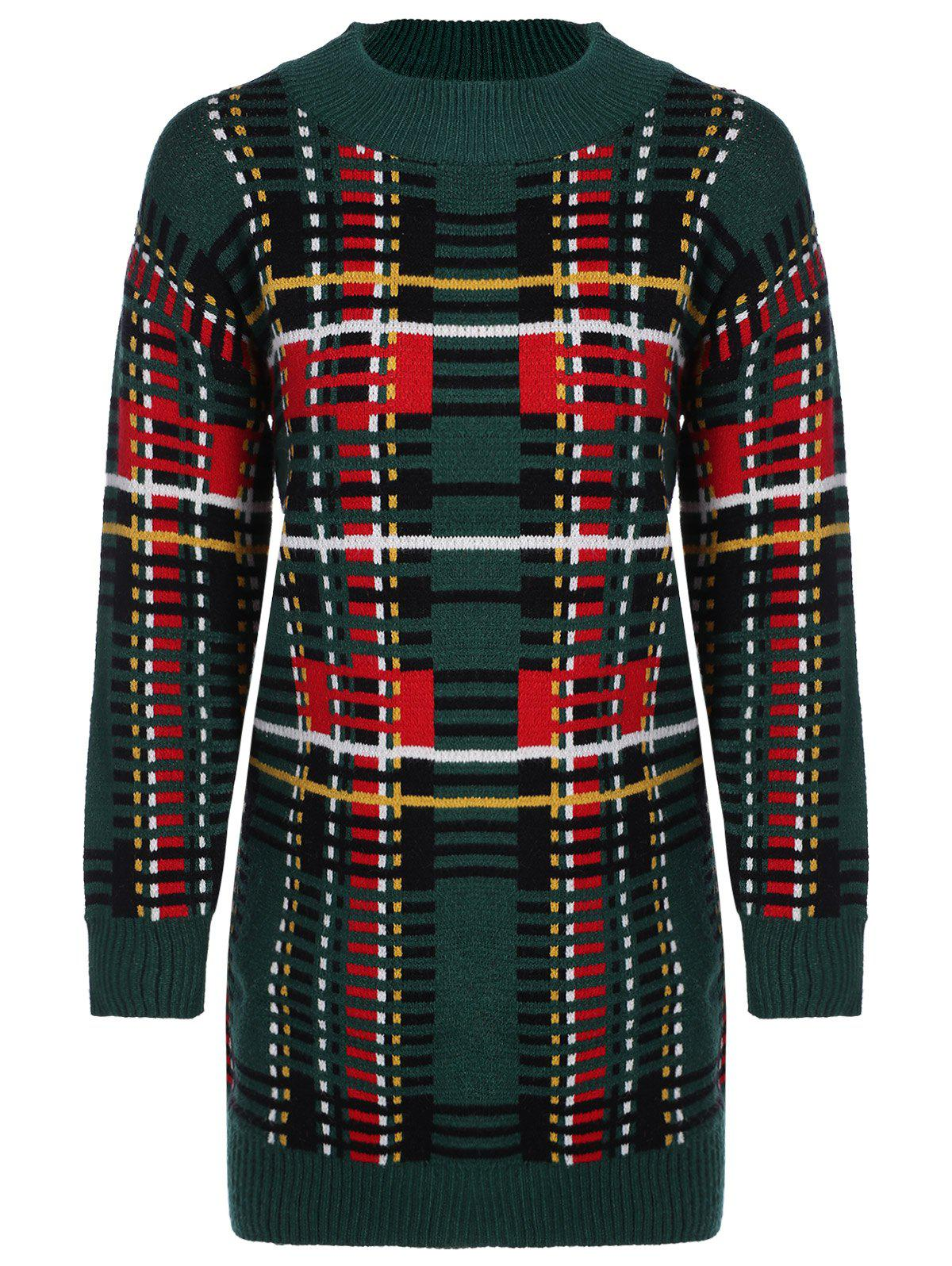 Jewel Neck Color Block Sweater Dress - GREEN ONE SIZE