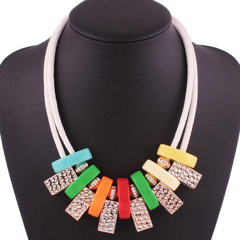 Layered Geometric Block Rope Necklace - COLORMIX