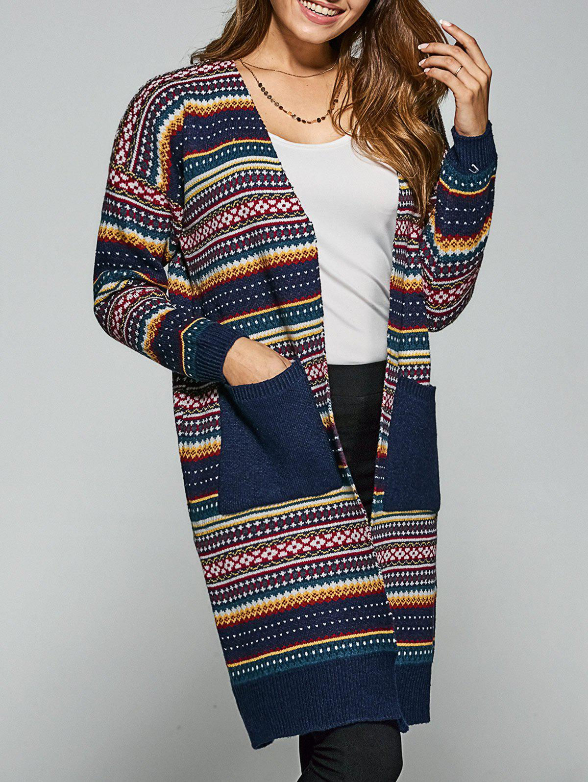 Pockets Ethnic Style Printed Cardigan - CADETBLUE ONE SIZE